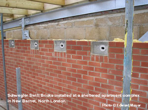 Schwegler Swift Bricks installed at a sheltered apartment complex in New Barnet, North London.
